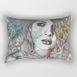 Wake: Summer | maple leaves tattoo woman portrait Rectangular Pillow