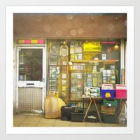 record Art Prints featuring Record Store by Cassia Beck