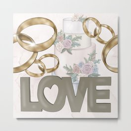 Love | Cake | Wedding Rings Metal Print
