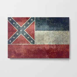 Mississippi State Flag in Distressed Grunge Metal Print