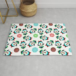 Christmas, Cute Prancing Penguins with Candy Rug