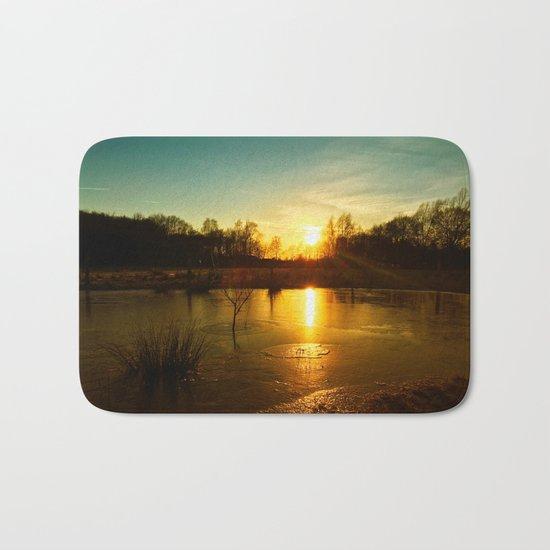 Winterlandscape with sunset Bath Mat
