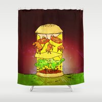 ufo Shower Curtains featuring UFO Burger by MUSENYO