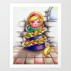 Kokeshi Rapunzel Art Print