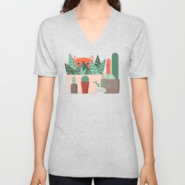 Cat and succulents No1 Unisex V-Neck