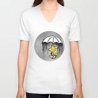 woodstock V-neck T-shirts featuring Don't rain on my parade by butterflyandbear