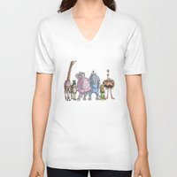 animal crew V-neck T-shirts featuring Animal Mural Crew by Michael Jared DiMotta Illustrations