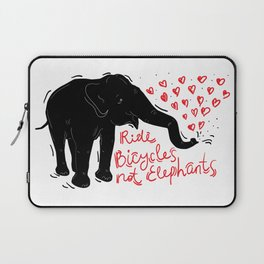 Ride bicycles not elephants. Black elephant, Red text Laptop Sleeve