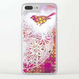 Round Twin Birds Clear iPhone Case