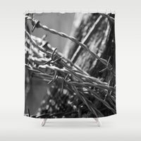 the wire Shower Curtains featuring Barbed Wire by Fine2art