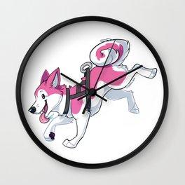 Pink Husky Running Wall Clock