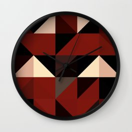 Red Black Block Pattern Abstract Wall Clock