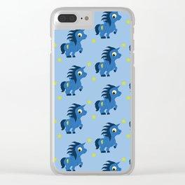Blue Unicorn Clear iPhone Case