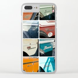 Early Ford Bronco Emblems Clear iPhone Case