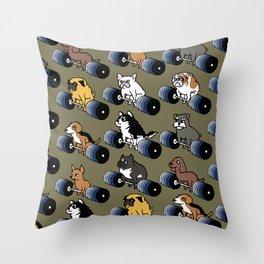 5 plates deadlift Puppies Throw Pillow