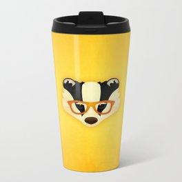 Hipster Badger: Gold Metal Travel Mug