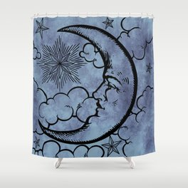 Moon vintage blue grey Shower Curtain
