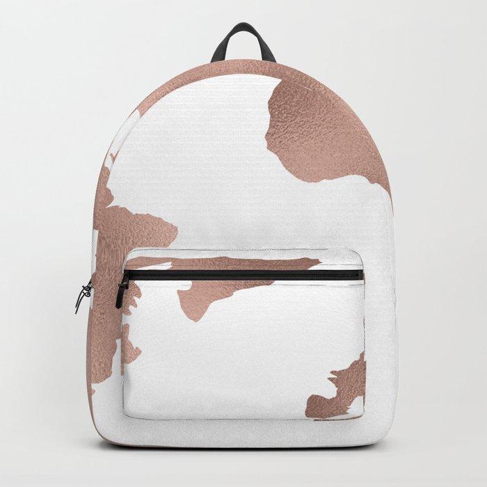 World Map Rose Gold Shimmer Backpack