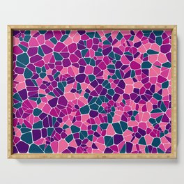 Stained glass colorful voronoi with fillet, vector abstract. Irregular cells background pattern. 2D Serving Tray