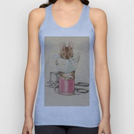 Cute little mouse reading a newspaper Unisex Tank Top
