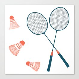Vintage Badminton Print in blue and red Canvas Print