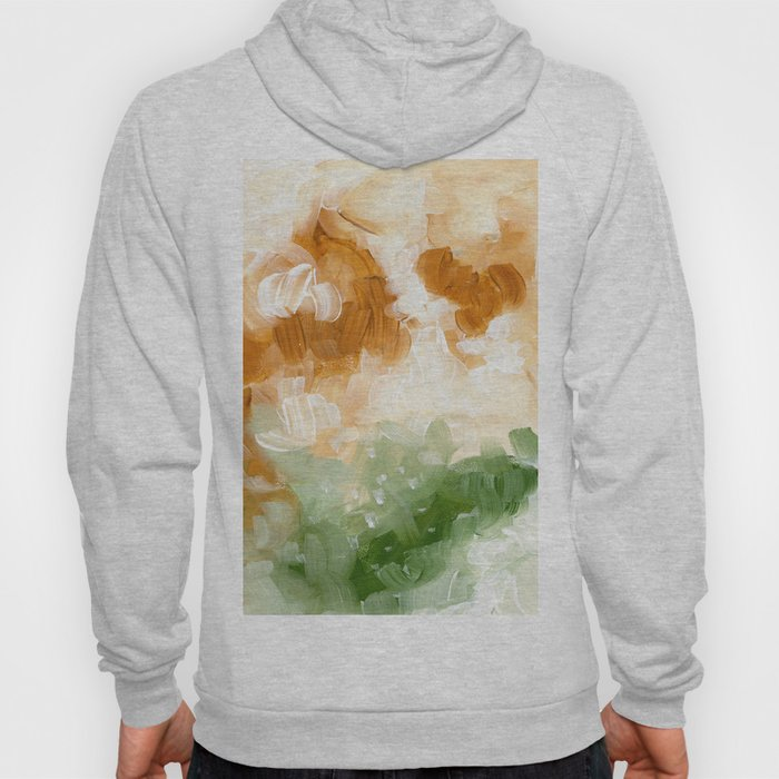 Ejaaz Haniff Abstract Acrylic Palette Knife Painting Olive Green Yellow Ochre: 'Sunny Valley Clouds' Hoody