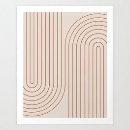 Minimal Line Curvature - Coral II Art Print