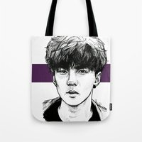 exo Tote Bags featuring Sehun EXO Exodus by fabisart
