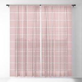 Grid Pattern Rose Blush Pink White D9A6A1 Stripe Line Minimal Stripes Lines Spring Summer Sheer Curtain