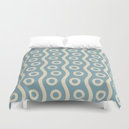 Mid Century Modern Rising Bubbles Pattern 2 Blue and Cream Duvet Cover