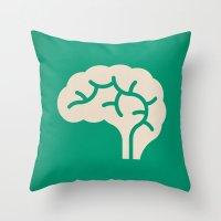 brain Throw Pillows featuring Brain by Blank & Vøid