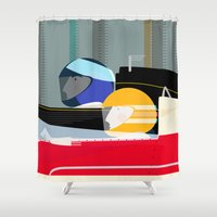 racing Shower Curtains featuring Racing Drivers by Sam Osborne