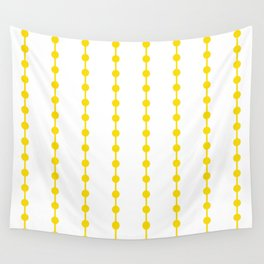 Geometric Droplets Pattern Linked - Summer Sunshine Yellow on White Wall Tapestry