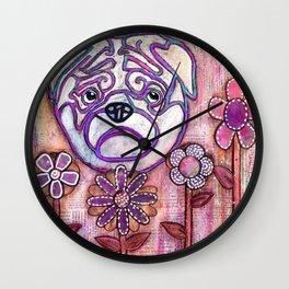 Puggin Around the Garden Wall Clock