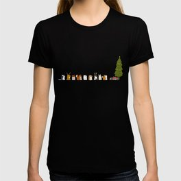 winter animals on the christmas tree T-shirt