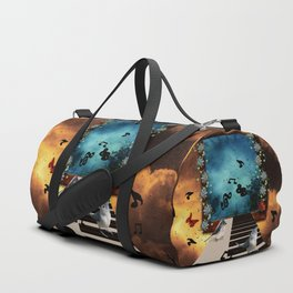 Music, piano with birds and butterflies Duffle Bag