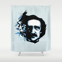 edgar allan poe Shower Curtains featuring Edgar Allan Poe Crows by Ludwig Van Bacon