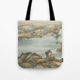 Vintage Pictorial Map of Lake Sunapee (1905) Tote Bag