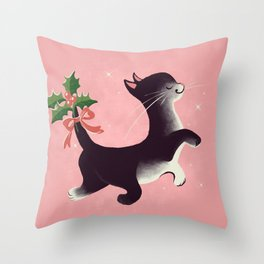 Holly Jolly Vintage Holiday Kitty Cat Cutie Throw Pillow