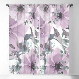 Floral Watercolor, Purple and Gray Blackout Curtain