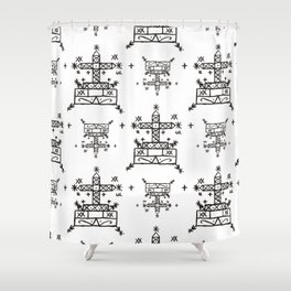 Baron Samedi Voodoo Veve Symbols in White Shower Curtain