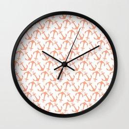 Modern coral white trendy nautical anchor Wall Clock