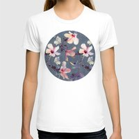 indigo T-shirts featuring Butterflies and Hibiscus Flowers - a painted pattern by micklyn