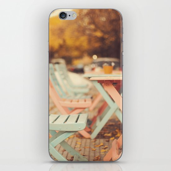 Dream Autumn (Pink and blue coffee shop chairs on retro and vintage fall) iPhone & iPod Skin