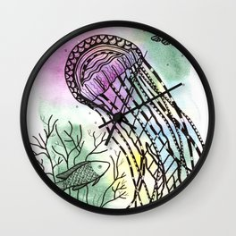 Jellyfish in watercolor and ink Wall Clock