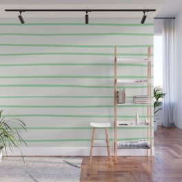 Pastel Green Hand Drawn Line Pattern on Linen White Pairs to 2020 Color of the Year Neo Mint Wall Mural