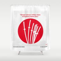 akira Shower Curtains featuring No200 My The Seven Samurai minimal movie poster by Chungkong