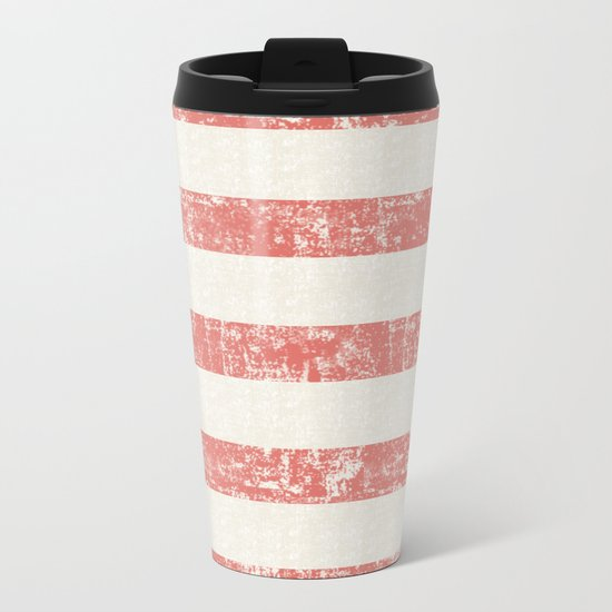 Maritime Beach Pattern- Red and White Stripes- Horizontal- Metal Travel Mug