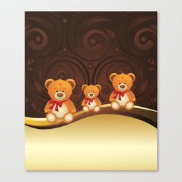 Teddy bear with red bow Canvas Print