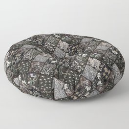 Faux Patchwork Quilting - Black Floor Pillow